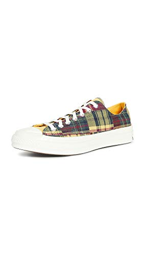 Converse Men's Chuck Twisted Prep Sneakers, Amarillo/Faded Spruce/Rose Mar, Yellow, Plaid, 7 Medium US