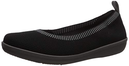 Clarks womens Ayla Paige Ballet Flat  Black Knit With Grey Bottom  7.5 US
