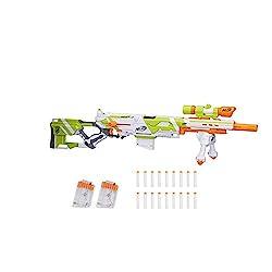 professional Longstrike Nerf Modulus Toy Blaster, Barrel Extensions, Bipods, Rifle Scopes, 18 Modulus Elite Darts…