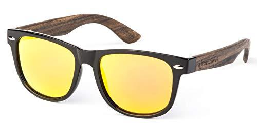 Bexxwell Sonnenbrille mit Echtholz-Bügeln, handgefertigt, UV-Schutz, polarisiert (Holz, Wood) (Schwarz/Gelb und Holz dunkel)