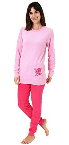 Damen Frottee Pyjama Langarm Schlafanzug mit Bündchen und Herz Motiv - 61695, Farbe:rosa, Größe2:44/46