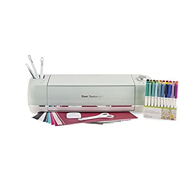 Cricut Explore Air 2 Bundle - 40 Sheets of Vinyl/Transfer Tape, Basic Tool Kit, and 30 Pack Pen Set.
