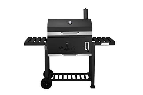Holzkohlegrill Ontario XXL von EL Fuego® Grill Smoker BBQ Grillwagen Barbecue, mit Thermometer, inkl. Flaschenöffner, mit verchromten Warmhalterost und Ascheauffangbehälter, AY 415
