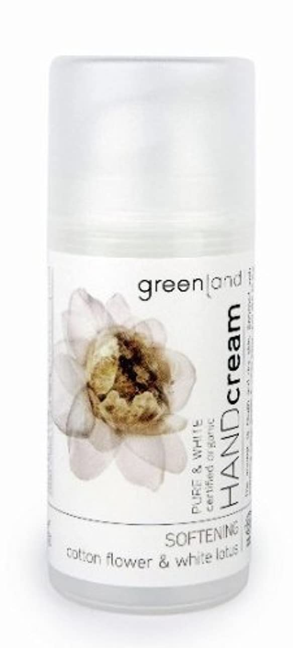 仕事材料強制グリーンランド(greenland)ハンドクリーム コットンフラワー&ホワイトロータス  100ml(手肌用保湿 ポンプタイプ 洗練されたやわらかく優しい香りは癒されたいときに)