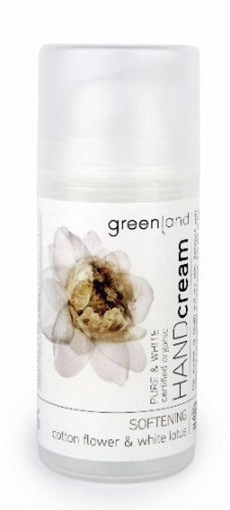 起きるマーク感性グリーンランド(greenland)ハンドクリーム コットンフラワー&ホワイトロータス  100ml(手肌用保湿 ポンプタイプ 洗練されたやわらかく優しい香りは癒されたいときに)