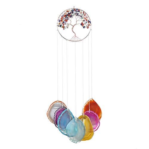 JSDDE 7 Chakra Windspiel aus natürlicher Achat Scheiben Baum des Leben zum Aufhängen Kristall Heilung Windfänger Dekoration für Zuhause, Wohnzimmer, Terrasse, Auto