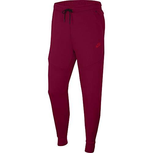 Nike Tech - Pantalones de forro polar (talla XL), color rojo