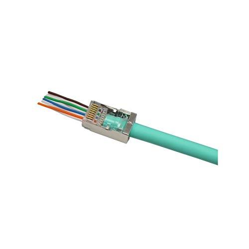 Exertis Connect Modularstecker RJ45 Easy Plug, Cat. 6, STP, für mehradrige Kabel, zum Crimpen, VPE 10 Stück