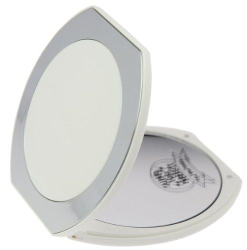 Fantasia Taschenspiegel klappbar - Kunststoff Weiß/Silber, zweiseitig, normal und 10-fache Vergrößerung, Ø 10cm, handlicher Klappspiegel