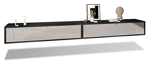 Vladon Set de 2 Muebles televisor Colgantes Lana 140, Cada Parte del Set Mide 140 x 29 x 37 cm, Cuerpo en Negro Mate, frentes en Gris Arena de Alto Brillo