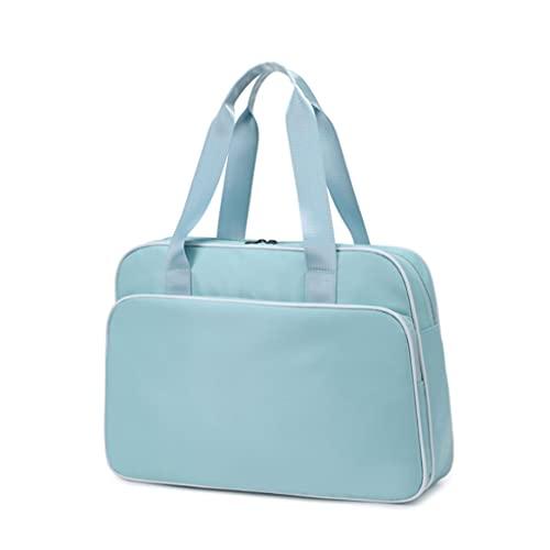 Qiaoli - Borsone da viaggio pieghevole da donna, impermeabile, leggero, da viaggio, per weekend, palestra, sport (colore: blu)