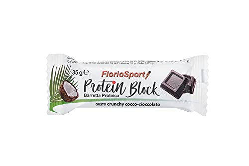 FlorioSport, Protein Block, 30 Barrette Proteiche da 35g al 30% di Proteine (30 pz Cioccolato Fondente e Cocco)
