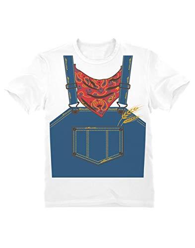 Camiseta para niños - - Rápido y Sencillo Disfraz de Granjero para Pequeños en Halloween 3/4 Años 104cm Blanco