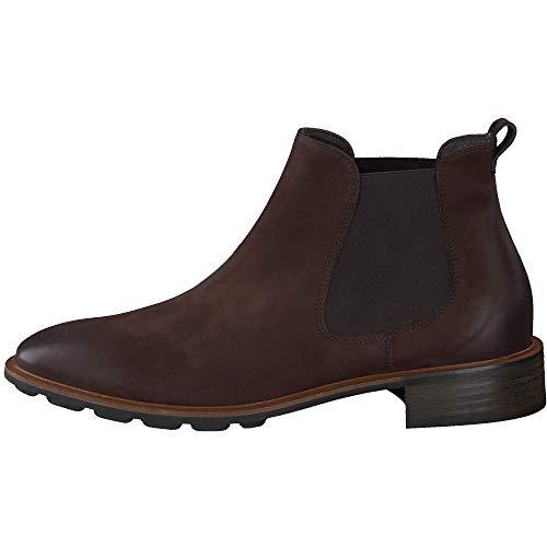 Paul Green Damen Chelsea-Boots, Frauen Stiefeletten, Women's Women Woman Freizeit leger Stiefel halbstiefel Bootie flach Lady,Braun,7 UK / 40.5 EU