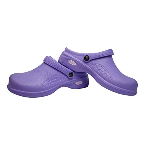 Natural Uniforms Ultralite Women's Clogs with Strap, Medical Work Mule (Size 8, Lilac)