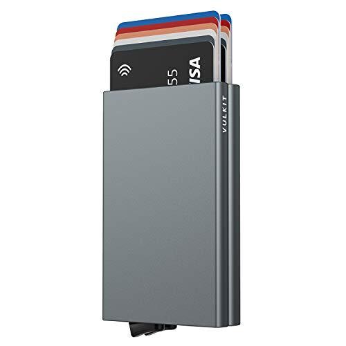 VULKIT Alpha Tarjetero Doble Caja de Metalico RFID Bloqueo Tarjeteros para Tarjetas de Credito Hombre o Mujer hasta 10 Tarjetas Gris Espacio