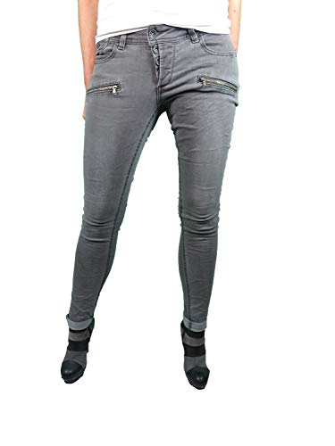 Buena Vista Malibu C Stretch Denim| Damen Jeans Hose | mit dekorativer Knopfleiste und Zippern (M, Grey)