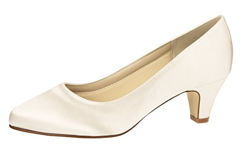 Rainbow Club Brautschuhe Megan - Pumps Ivory Satin - Trichterabsatz - Gr 38.5 EU 5.5 UK