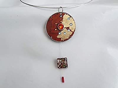 Speciimen - Bijou pour Femme en Circuit Imprimé Recyclé avec Cristal Swaroski - Pendentif Orange Rond et Réversible - Exemplaire Unique Fait Main