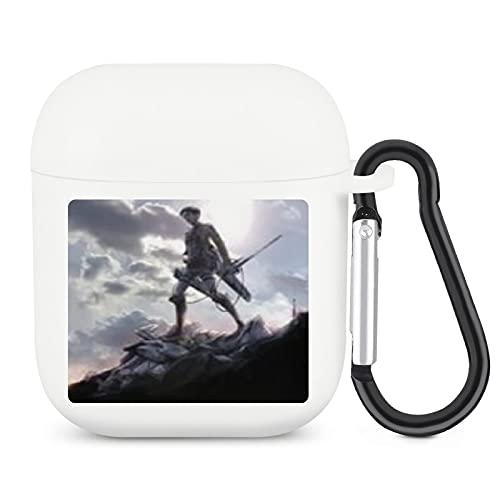 Attack on Titan - Funda para AirPods con hebilla para colgar (silicona protectora, suave, para niñas, niños, adolescentes con Apple 2 y 1)
