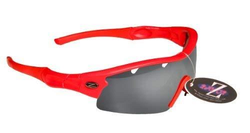 Rayzor Professionnel léger UV400 Rouge Sport Wrap Ski Lunettes de Soleil, avec Un 1 Piece ventilé fumé Miroir Anti-éblouissement Lens.