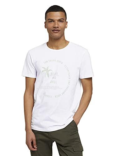 TOM TAILOR Denim Herren 1025891 Print T-Shirt, 20000-White, S