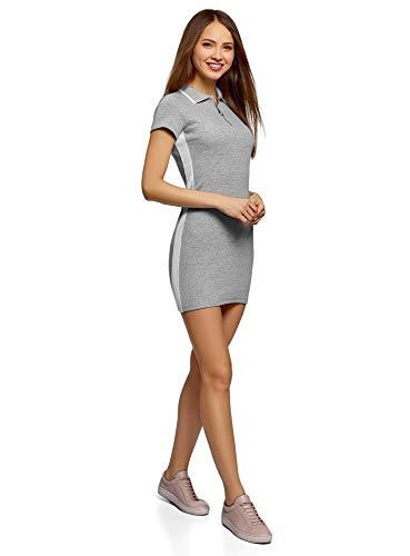 oodji Ultra Damen Enges Kleid mit Kontrastkragen, Grau, DE 38 / EU 40 / M