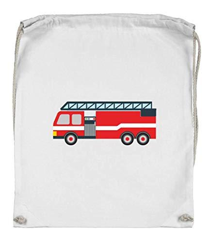 Druckerlebnis24 Bolsa de deporte, diseño de bomberos con conductor giratorio, coche de cómic, bolsa de tela de algodón orgánico