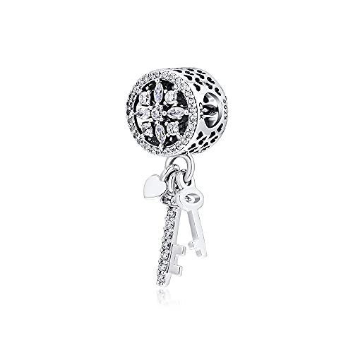 LILANG Pulsera de joyería Pandora 925, ajustes Naturales para Collares, Cuentas Colgantes de Copo de Nieve con abalorio de Plata esterlina Transparente para Mujeres, Regalos de Bricolaje