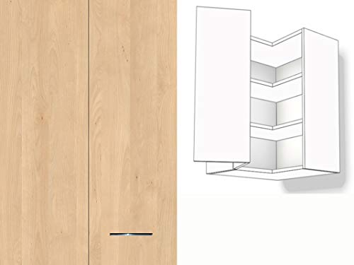 Premium-Ambiente YAH090 Oberschrank Eck 1-türig 2 Fachböden 60cm breit Softclosing Montageschienen inkl. EURODEKOR® Anschlag Links (21 Mandal Ahorn Natur)