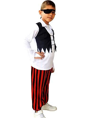 Disfraz de pirata corsario - niño - disfraz - carnaval - halloween - cosplay - talla s - 3/4 años - idea de regalo para cumpleaños