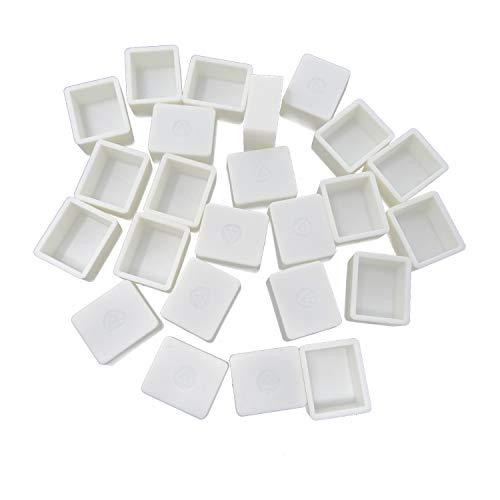 Honbay 24PCS White Plastic Watercolor Half Pans Empty Watercolor Paint Half Pans