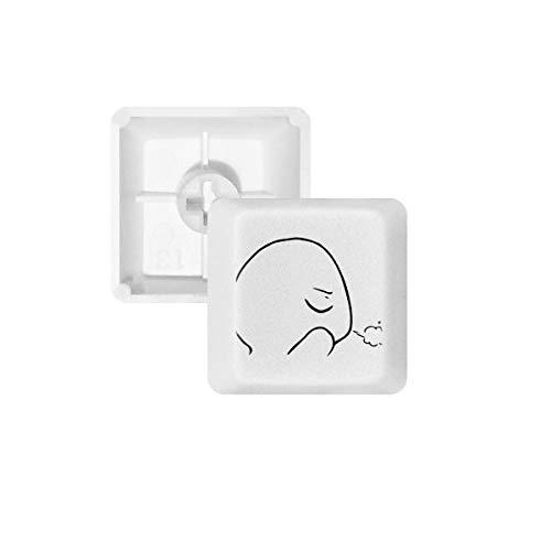 DIYthinker Eyes Closed Expiratory Black Emoji PBT Keycaps voor Mechanisch Toetsenbord Wit OEM Geen Markering Print, R4, Multi kleuren