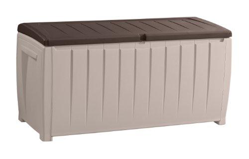 Keter 6007N Nove L Storage Box, Auflagen und Universalbox mit Sitzge Legenheit, beige/braun, 340 L