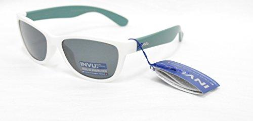 INVU Polarisierte Sonnenbrille für Kinder K 2416 B weiß grün Gläser 100% UV Block Sunglasses Polarized