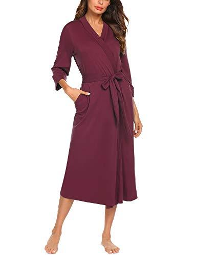 UNibelle Vestaglia e Kimono Lungo Donna Manica a 3/4 Scollo a V Accappatoio con 2 Tasche Nightdress S-XXL