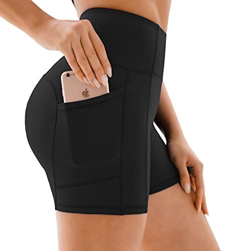 Persit Sporthose Damen Kurz Radlerhose - Sport Leggins Yoga Shorts Sommer Kurze Leggings Laufhose Schwarz-M