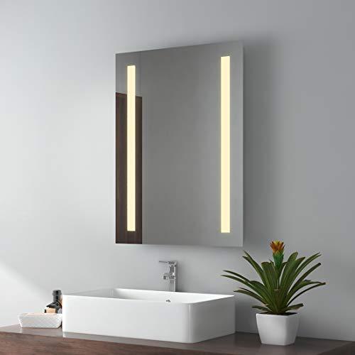 EMKE LED Badspiegel, 50x70cm Badezimmerspiegel mit Beleuchtung Warmweissen Lichtspiegel Wandspiegel IP44 energiesparend
