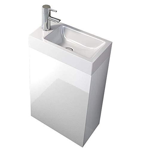 SAM Waschplatz Vega, Kleiner Waschtisch 40 x 22 cm, Weiß Hochglanz, Tür mit Push-Open-Funktion, Kunststoffbecken