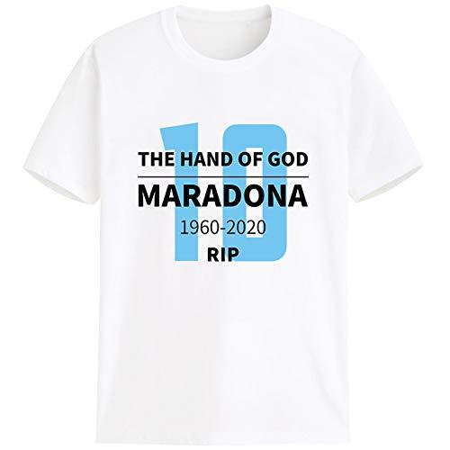 Sijux Argentina Equipo Tela Rip Diego Armando Maradona Camiseta Fútbol Manga Corta Top Ropa Personalizada Conmemorativa Hombres Unisex,White1,XS