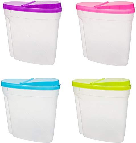EVERBUY® - Dispensador de cereales - Contenedor de almacenamiento de cereales - 3 L de plástico para alimentos secos y cocina con tapa hermética ideal para cereales, arroz, pasta y más