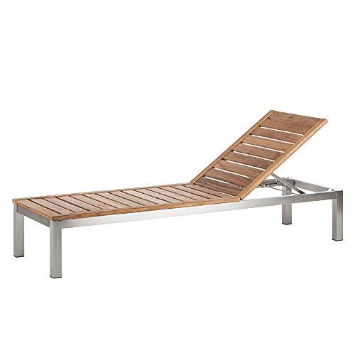 CHICREAT - Tumbona de jardín de madera de teca y acero inoxidable para relajarse