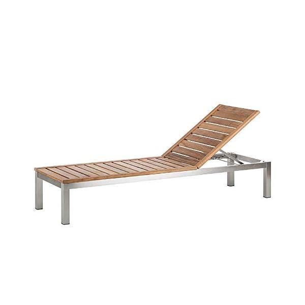 CHICREAT Teakholz Edelstahl Liege Gartenliege Sonnenliege Relaxliege
