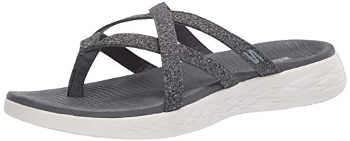 Skechers Women's On The GO 600-Dainty Flat Sandal, Charcoal, 9 Medium US