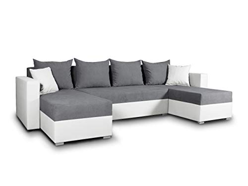 Wohnlandschaft mit Schlaffunktion Beno - U-Form Couch, Ecksofa mit Bettkasten, Couchgranitur mit Bettfunktion, Polsterecke, Big Sofa, Polstergarnitur (Weiß + Dunkelgrau (Cayenne 1111 + Enjoy 23))