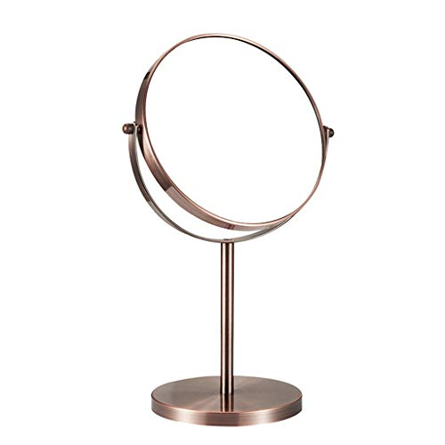 LWF Desktop Vanity Mirror, Dressing Table Makeup Mirror With 1x/3x, 7'/8' 360°Swivel Magnifying Mirror, Bathroom Double-sided Beauty Mirror(Size:7 inch,Color:Brown)