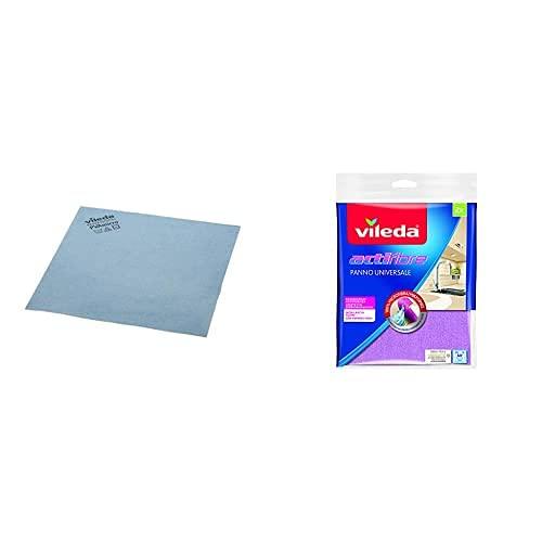 Vileda Profesional 235385 Bayetas Microfibra Azul, 19.5 X 18 X 5.2 Cm, 5 Unidades + Bayeta De Microfibras Actifibre, Colores...
