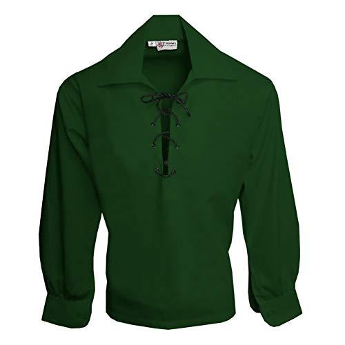 Tartanista - Herren Ghillie-Hemd mit Lederriemen - Waldgrün - L