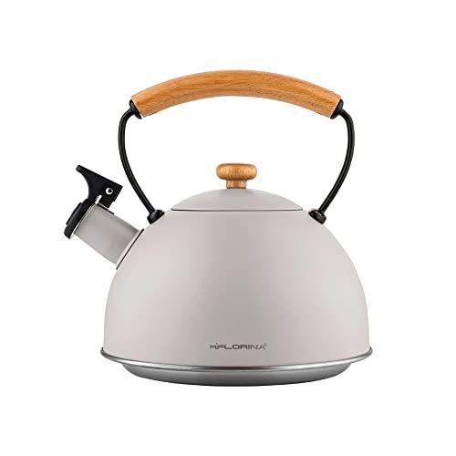 FLORINA Wasserkessel Grau Induktion Gas 2,3 L Retro Vintage Flötenkessel Edelstahl Teekessel mit Holzgriff Teekessel Pfeiffe Elektroherd Keramikherd für Tee Kaffee Nature Line
