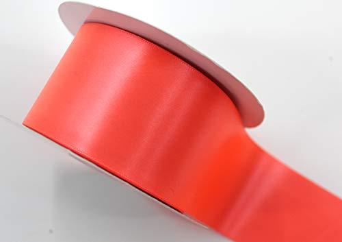 CaPiSo Satin-Schleifenband 50mm Breit 5cm Strängchen Geschenkband,Dekoband,Weihnachten Neon-Orange